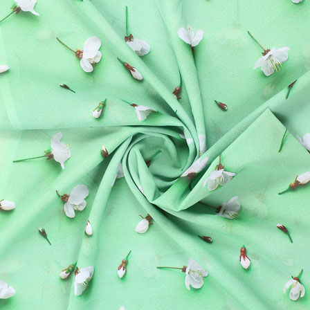 Green White Flower Georgette Silk Fabric-15097
